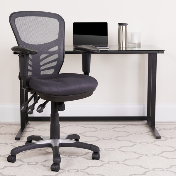 Lowest Price Mid-Back Dark Gray Mesh Multifunction Executive Swivel Ergonomic Office Chair with Adjustable Arms