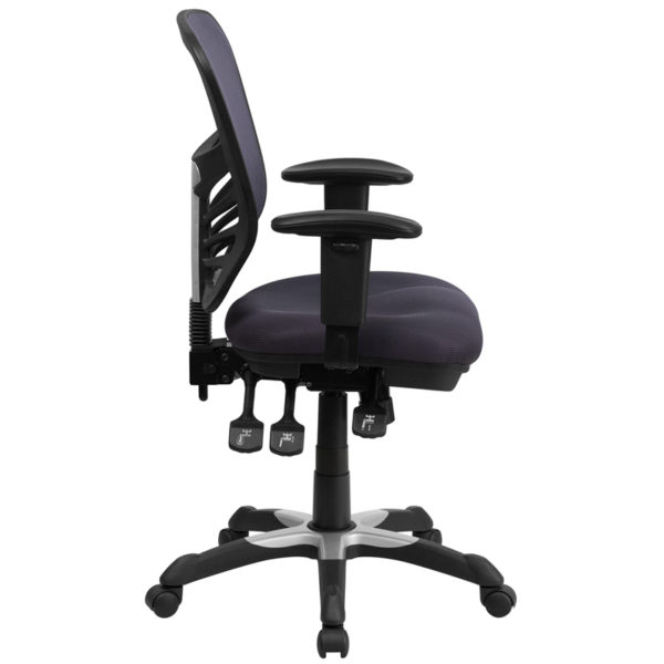 Contemporary Office Chair Dark Gray Mid-Back Mesh Chair