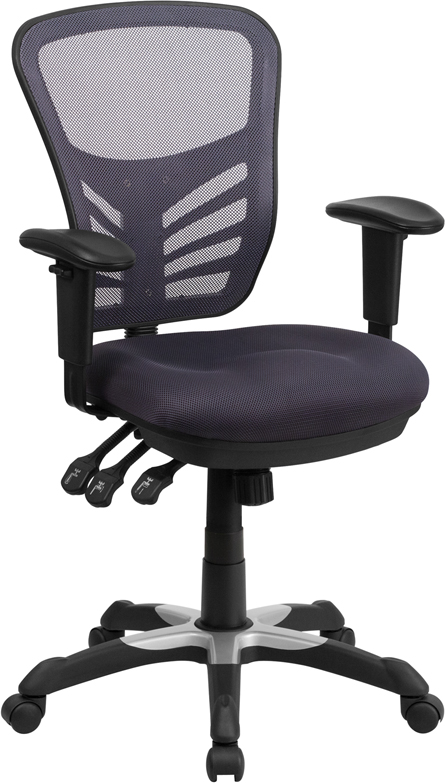 Wholesale Mid-Back Dark Gray Mesh Multifunction Executive Swivel Ergonomic Office Chair with Adjustable Arms
