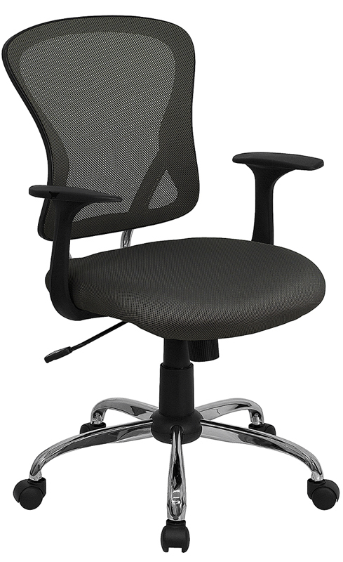 Wholesale Mid-Back Dark Gray Mesh Swivel Task Office Chair with Chrome Base and Arms