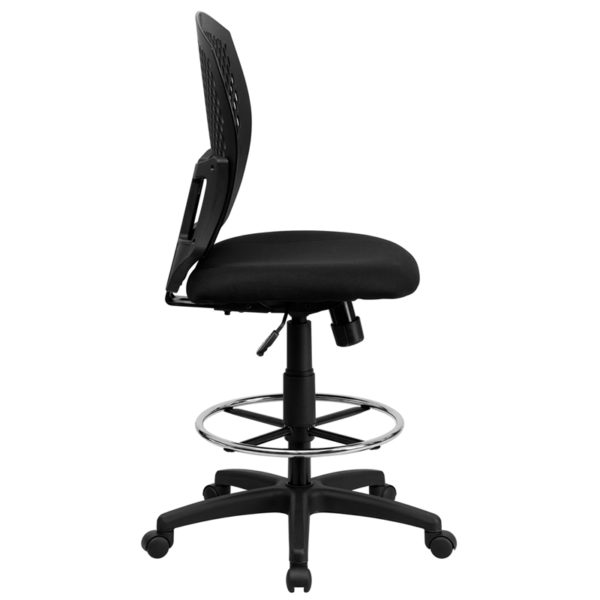Lowest Price Mid-Back Designer Back Drafting Chair with Fabric Seat