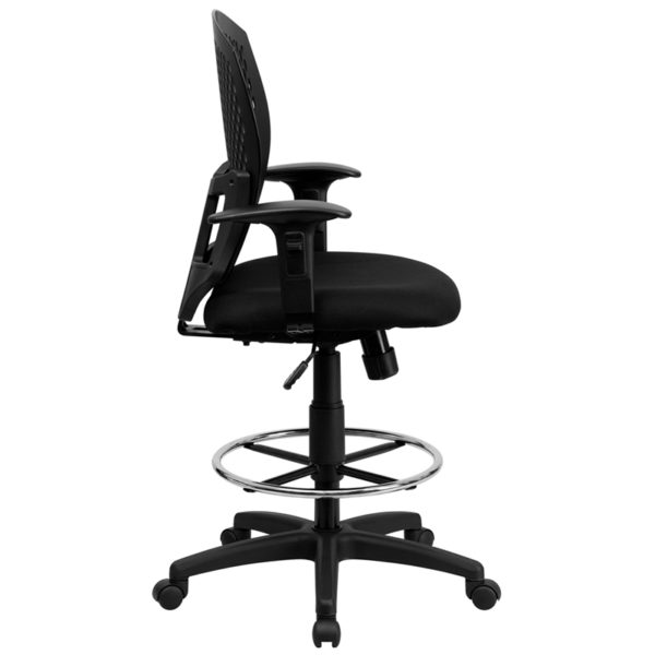 Lowest Price Mid-Back Designer Back Drafting Chair with Fabric Seat and Adjustable Arms
