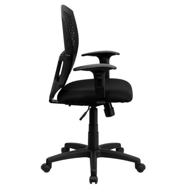 Lowest Price Mid-Back Designer Back Swivel Task Office Chair with Fabric Seat and Adjustable Arms