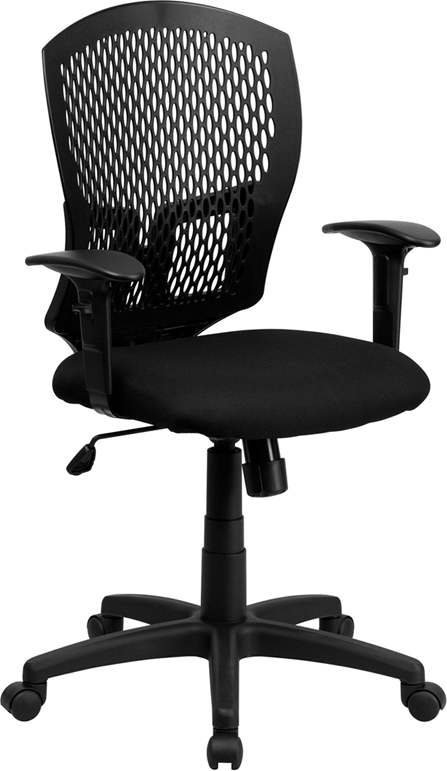 Wholesale Mid-Back Designer Back Swivel Task Office Chair with Fabric Seat and Adjustable Arms