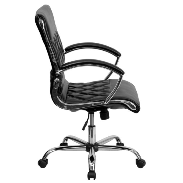Lowest Price Mid-Back Designer Black Leather Executive Swivel Office Chair with Chrome Base and Arms