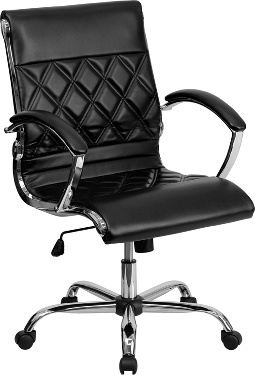 Wholesale Mid-Back Designer Black Leather Executive Swivel Office Chair with Chrome Base and Arms