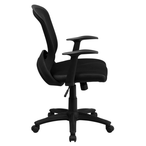 Lowest Price Mid-Back Designer Black Mesh Swivel Task Office Chair with Arms