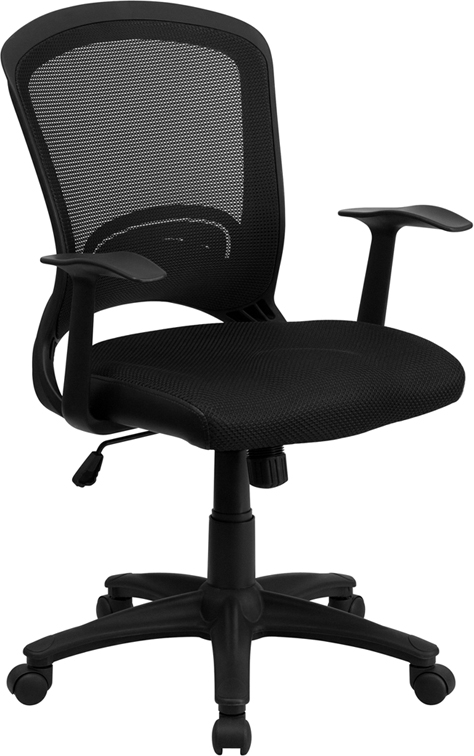 Wholesale Mid-Back Designer Black Mesh Swivel Task Office Chair with Arms