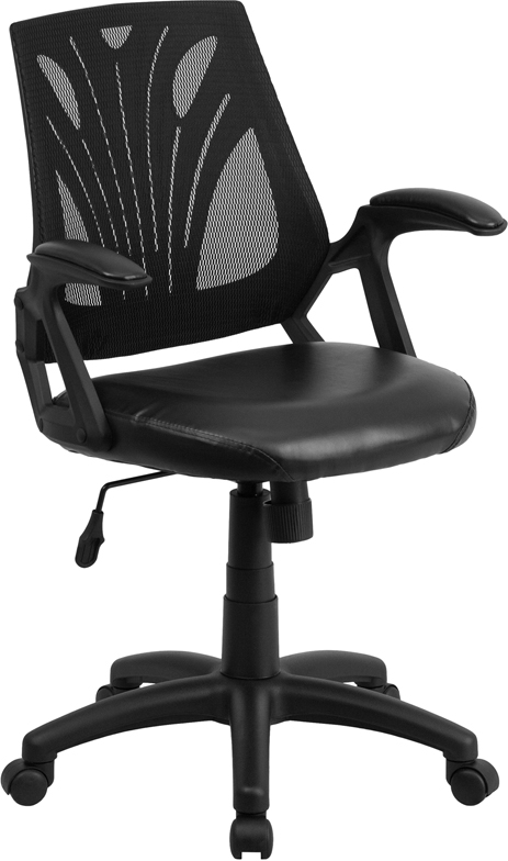 Wholesale Mid-Back Designer Black Mesh Swivel Task Office Chair with Leather Seat and Open Arms