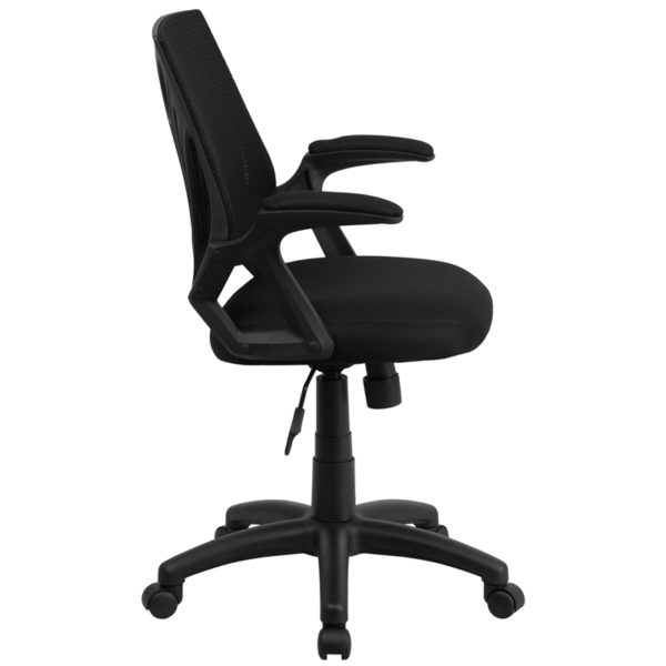 Lowest Price Mid-Back Designer Black Mesh Swivel Task Office Chair with Open Arms