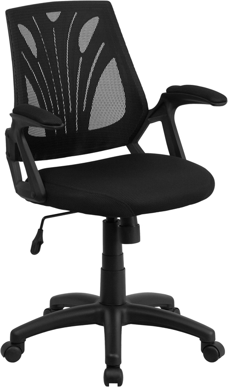 Wholesale Mid-Back Designer Black Mesh Swivel Task Office Chair with Open Arms