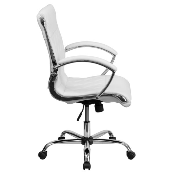 Lowest Price Mid-Back Designer White Leather Executive Swivel Office Chair with Chrome Base and Arms