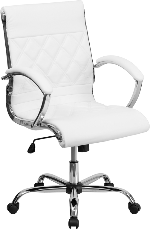 Wholesale Mid-Back Designer White Leather Executive Swivel Office Chair with Chrome Base and Arms