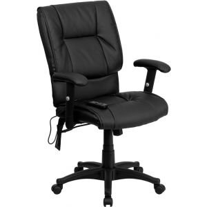 Wholesale Mid-Back Ergonomic Massaging Black Leather Executive Swivel Office Chair with Adjustable Arms