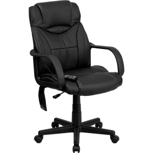 Wholesale Mid-Back Ergonomic Massaging Black Leather Executive Swivel Office Chair with Arms