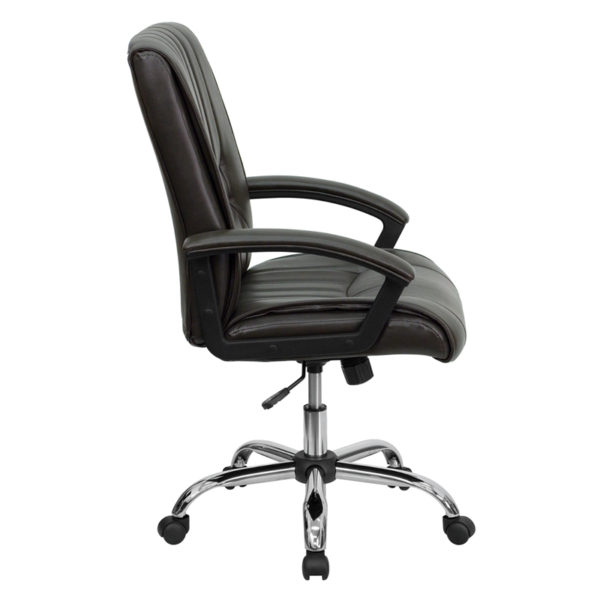 Lowest Price Mid-Back Espresso Brown Leather Swivel Manager's Office Chair with Arms