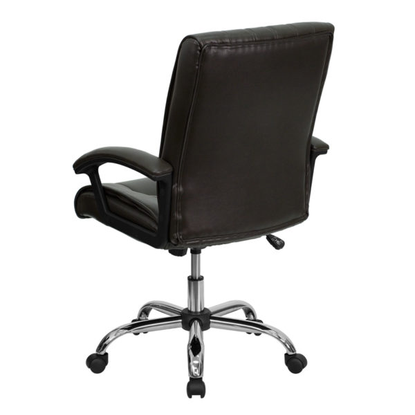 Contemporary Office Chair Brown Mid-Back Leather Chair
