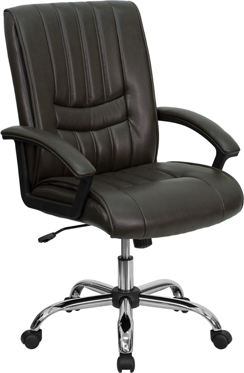 Wholesale Mid-Back Espresso Brown Leather Swivel Manager's Office Chair with Arms
