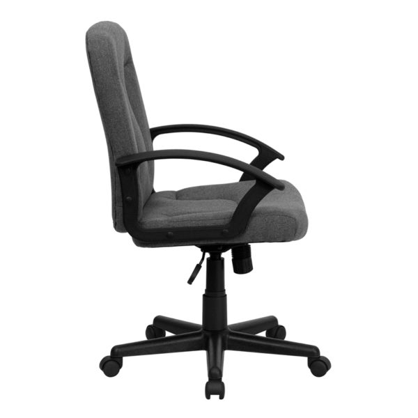 Lowest Price Mid-Back Gray Fabric Executive Swivel Office Chair with Nylon Arms