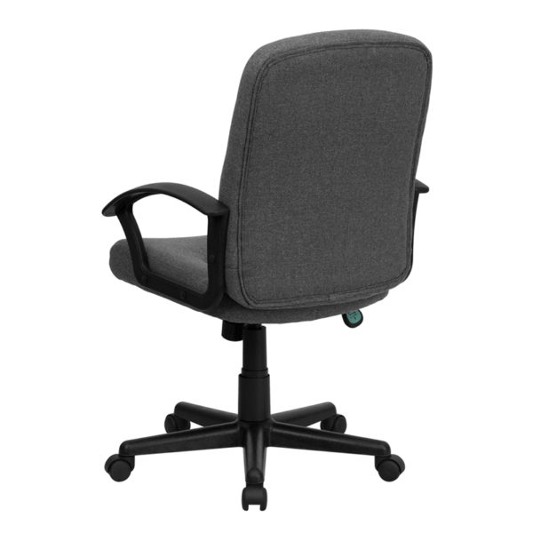 Contemporary Office Chair Gray Mid-Back Fabric Chair