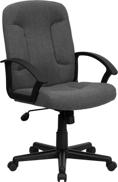 Wholesale Mid-Back Gray Fabric Executive Swivel Office Chair with Nylon Arms