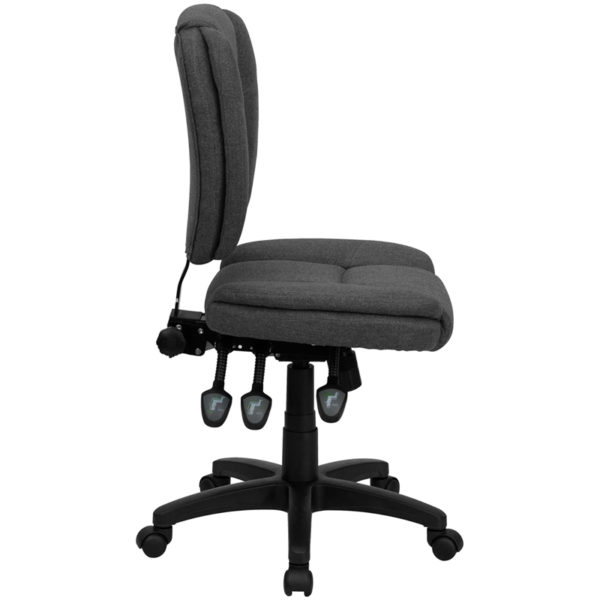 Lowest Price Mid-Back Gray Fabric Multifunction Swivel Ergonomic Task Office Chair with Pillow Top Cushioning