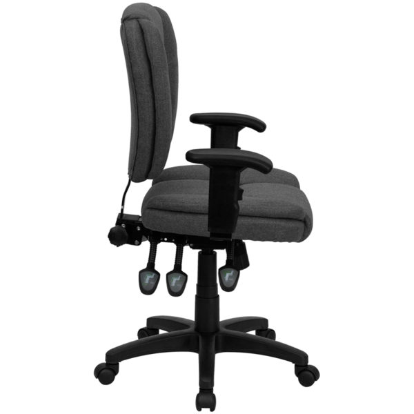 Lowest Price Mid-Back Gray Fabric Multifunction Swivel Ergonomic Task Office Chair with Pillow Top Cushioning and Arms