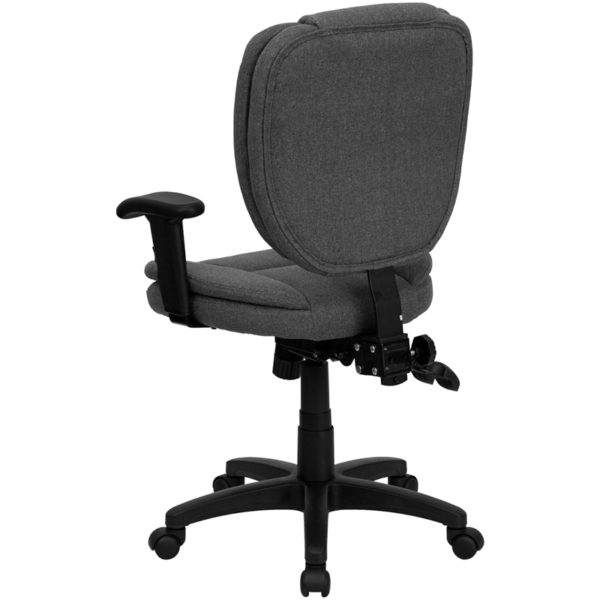 Contemporary Task Office Chair Gray Mid-Back Fabric Chair
