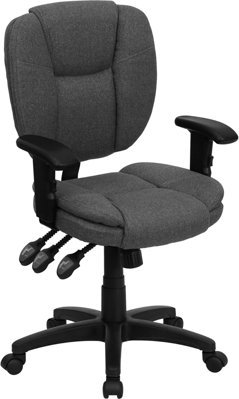 Wholesale Mid-Back Gray Fabric Multifunction Swivel Ergonomic Task Office Chair with Pillow Top Cushioning and Arms