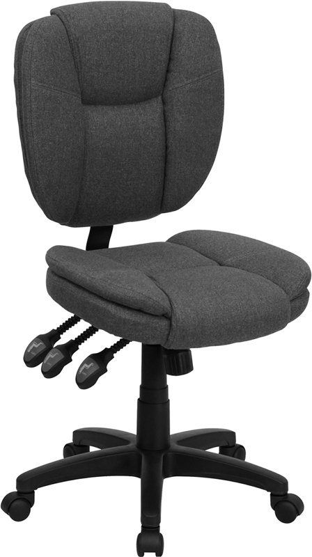 Wholesale Mid-Back Gray Fabric Multifunction Swivel Ergonomic Task Office Chair with Pillow Top Cushioning