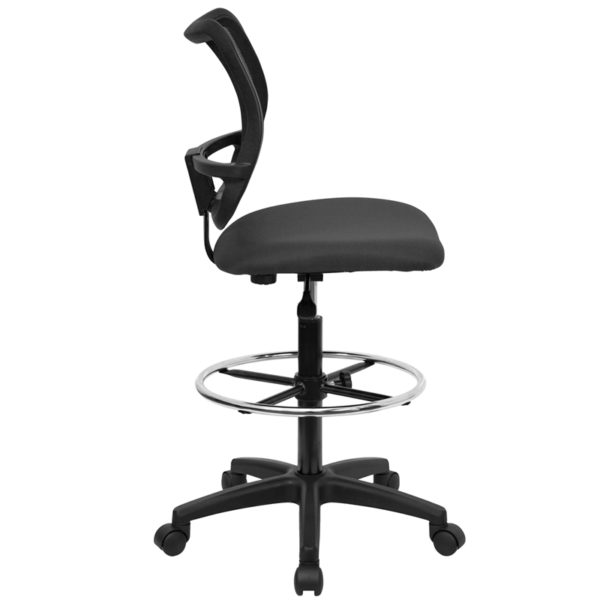 Lowest Price Mid-Back Gray Mesh Drafting Chair