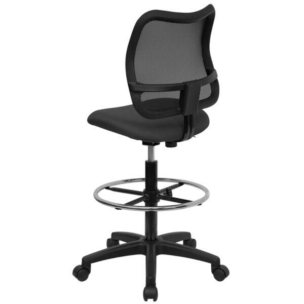 Contemporary Draft Stool Gray Mesh Draft Chair