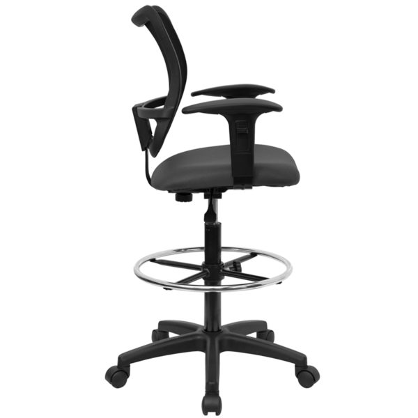 Lowest Price Mid-Back Gray Mesh Drafting Chair with Adjustable Arms