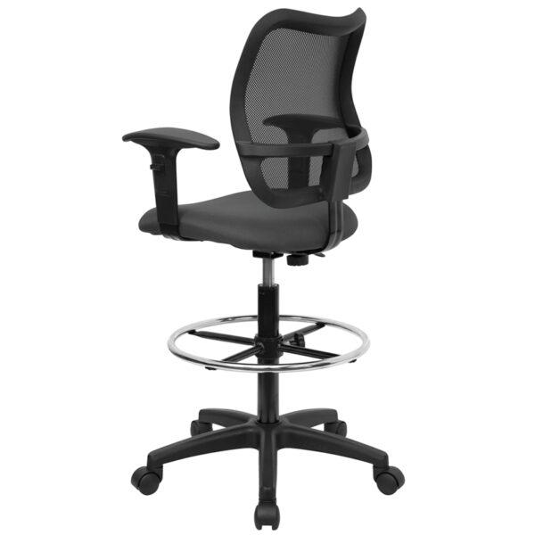 Contemporary Draft Stool Gray Mesh Draft Chair w/ Arms
