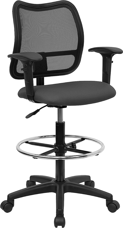 Wholesale Mid-Back Gray Mesh Drafting Chair with Adjustable Arms