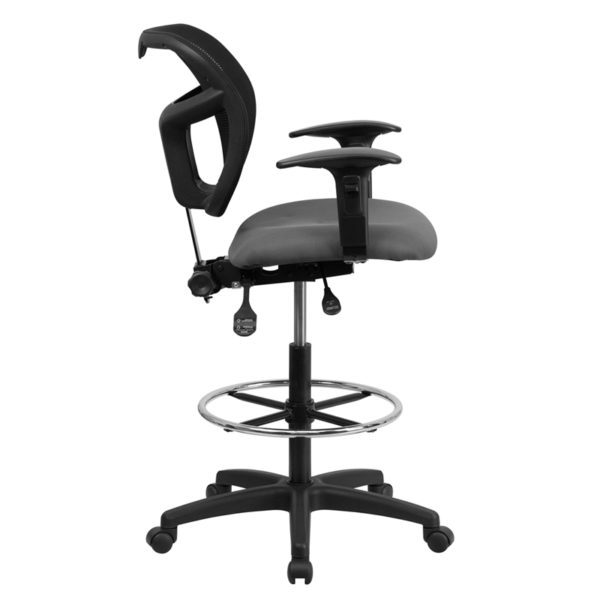 Lowest Price Mid-Back Gray Mesh Drafting Chair with Back Height Adjustment and Adjustable Arms