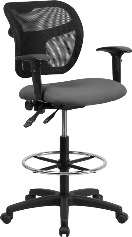 Wholesale Mid-Back Gray Mesh Drafting Chair with Back Height Adjustment and Adjustable Arms