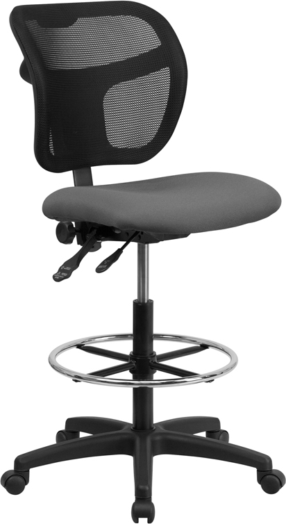 Wholesale Mid-Back Gray Mesh Drafting Chair with Back Height Adjustment