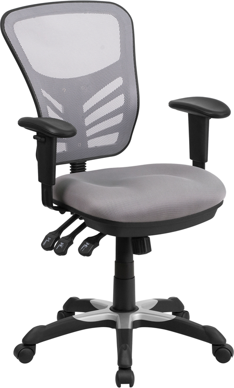 Wholesale Mid-Back Gray Mesh Multifunction Executive Swivel Ergonomic Office Chair with Adjustable Arms