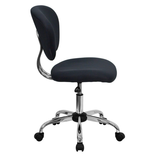 Lowest Price Mid-Back Gray Mesh Padded Swivel Task Office Chair with Chrome Base