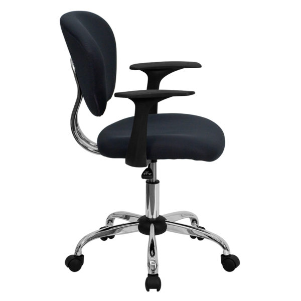 Lowest Price Mid-Back Gray Mesh Padded Swivel Task Office Chair with Chrome Base and Arms
