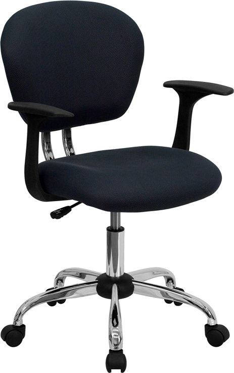Wholesale Mid-Back Gray Mesh Padded Swivel Task Office Chair with Chrome Base and Arms
