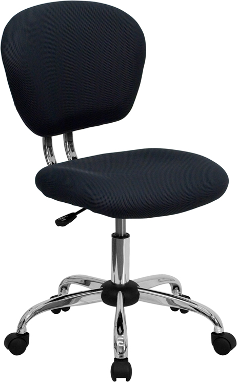 Wholesale Mid-Back Gray Mesh Padded Swivel Task Office Chair with Chrome Base