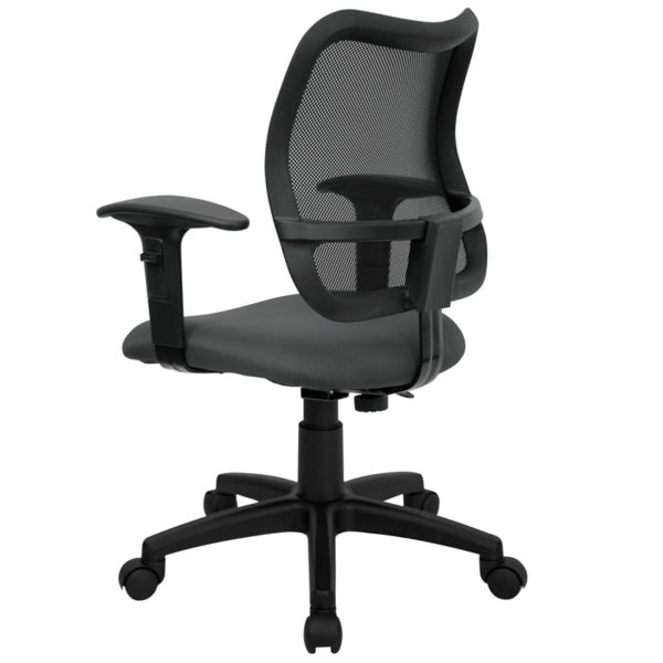Contemporary Task Office Chair Gray Mid-Back Task Chair