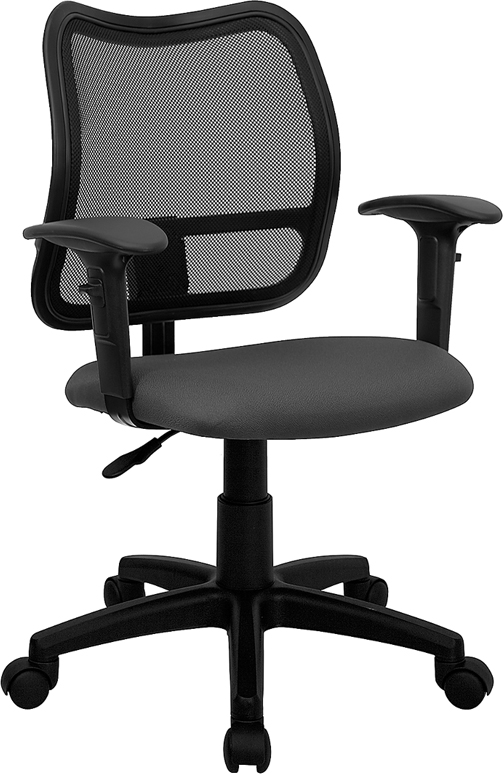 Wholesale Mid-Back Gray Mesh Swivel Task Office Chair with Adjustable Arms