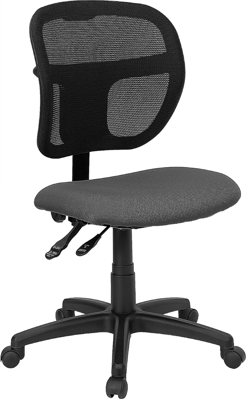 Wholesale Mid-Back Gray Mesh Swivel Task Office Chair with Back Height Adjustment
