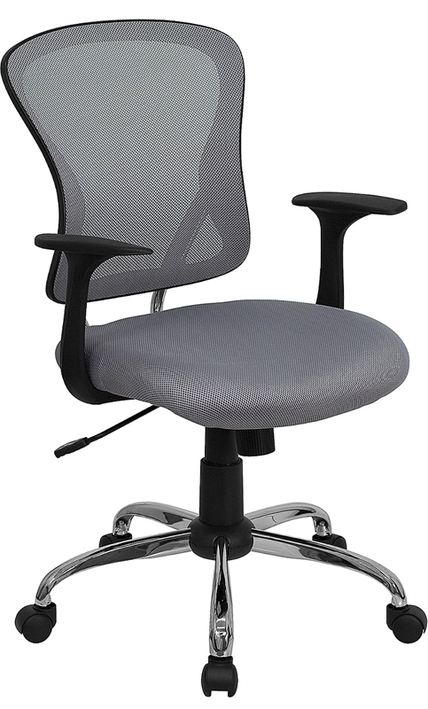 Wholesale Mid-Back Gray Mesh Swivel Task Office Chair with Chrome Base and Arms