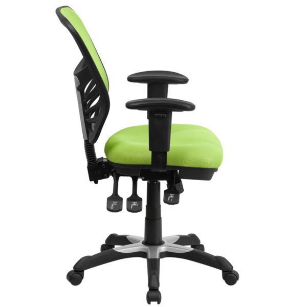 Lowest Price Mid-Back Green Mesh Multifunction Executive Swivel Ergonomic Office Chair with Adjustable Arms