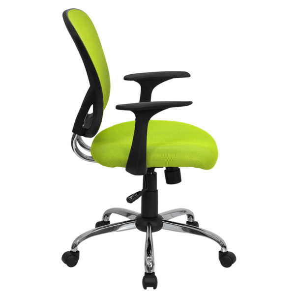 Lowest Price Mid-Back Green Mesh Swivel Task Office Chair with Chrome Base and Arms