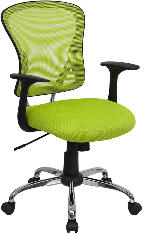 Wholesale Mid-Back Green Mesh Swivel Task Office Chair with Chrome Base and Arms